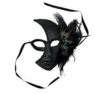Venetian Half Face Black Peacock Feather Mask